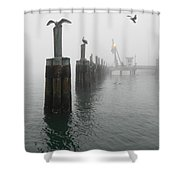 Foggy Pier Shower Curtain