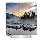 Foggy Port In Sunrise Shower Curtain