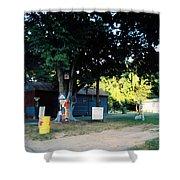 Folk Art Yard And Tree Shower Curtain