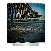Folly Beach Pier Shower Curtain