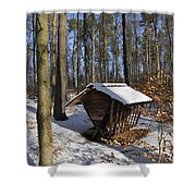Food Point For Animals In Winterly Forest Shower Curtain by Matthias Hauser