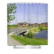 Foot-bridge And Lake - Barton Marina Shower Curtain