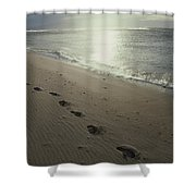 Footprints In The Sand On A Beach Shower Curtain