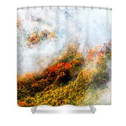 Forest In Veil Of Mists Shower Curtain