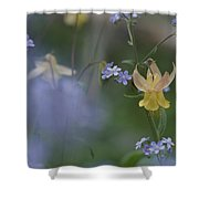Forget-me-not And Yellow Columbine Shower Curtain
