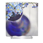 Forget Me Nots In Deep Blue Vase Shower Curtain