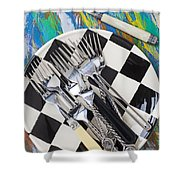 Forks On Checker Plate Shower Curtain