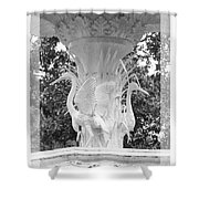 Forsyth Fountain - Black And White 4 Shower Curtain
