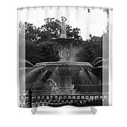 Forsyth Park Fountain - Black And White Shower Curtain