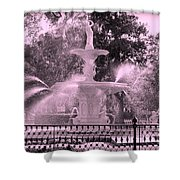 Forsyth Park Fountain In Pink Shower Curtain