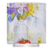 Forsythia And Ghost Daisies Shower Curtain