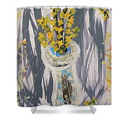 Forsythia In Old Clear Vase Mary Carol Shower Curtain