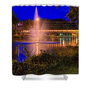 Fountain And Bridge At Night Shower Curtain