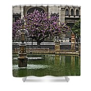 Fountain And Tree Shower Curtain
