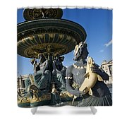 Fountain At Place De La Concorde. Paris. France Shower Curtain