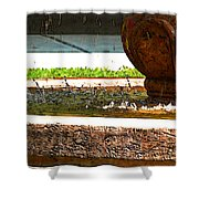 Fountain With Painted Effect Shower Curtain