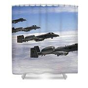 Four A-10 Thunderbolt IIs Fly Shower Curtain