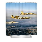 Four F-5 Tiger IIs Fly Above Southern Shower Curtain