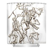 Four Mad Cowboys Of The Apocalypse Shower Curtain