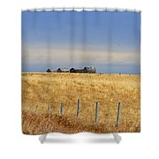 Four Outbuildings In The Field Shower Curtain