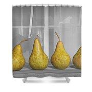 Four Pears On Windowsill Shower Curtain