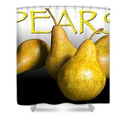 Four Pears With Yellow Lettering Shower Curtain