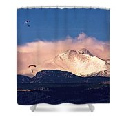 Four Skydivers With Longs Peak And Mount Meeker Rocky Mountain H Shower Curtain
