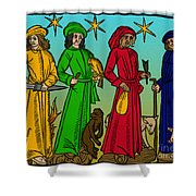 Four Temperaments, Medieval Woodcut Shower Curtain