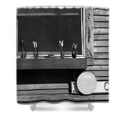 Four Tulips Cafe Bw Shower Curtain
