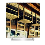 Four Wooden Chairs Shower Curtain