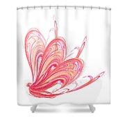 Fractal - Red Flow Shower Curtain
