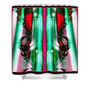 Fractal 29 Christmas Ribbons Shower Curtain
