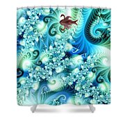 Fractal And Swan Shower Curtain by Odon Czintos
