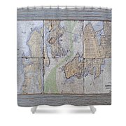 Framed Narragansett Bay Tile Set Shower Curtain