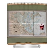 Framed Plymouth Bay With Lighthouse Tile Set Shower Curtain