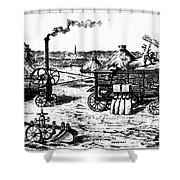 France: Steam Threshing Shower Curtain