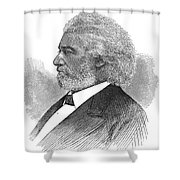 Frederick Douglass (c1817-1895). American Abolitionist. Wood Engraving, American, 1877 Shower Curtain