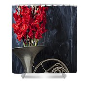 French Horn With Gladiolus Shower Curtain