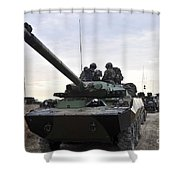 French Marines Lead A Convoy Of Combat Shower Curtain