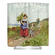 French Peasants On A Path Shower Curtain by Daniel Ridgway Knight
