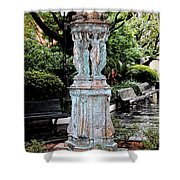 French Quarter Courtyard Statue New Orleans Ink Outlines Digital Art Shower Curtain