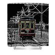 French Quarter French Market Cable Car New Orleans Color Splash Black And White With Glowing Edges Shower Curtain