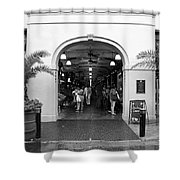 French Quarter French Market Entrance New Orleans Black And White Shower Curtain