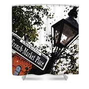 French Quarter French Market Street Sign New Orleans Diffuse Glow Digital Art Shower Curtain