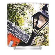 French Quarter French Market Street Sign New Orleans Film Grain Digital Art Shower Curtain