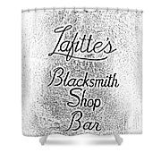 French Quarter Illuminated Lafittes Blacksmith Shop Bar Sign New Orleans Photocopy Digital Art Shower Curtain