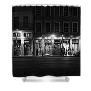 French Quarter Shopping At Night - Black And White Shower Curtain