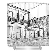 French Quarter Tavern Architecture New Orleans Black And White Photocopy Digital Art Shower Curtain