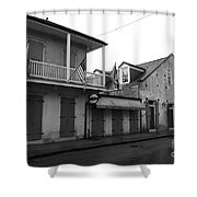 French Quarter Tavern Architecture New Orleans Black And White Shower Curtain