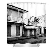 French Quarter Tavern Architecture New Orleans Conte Crayon Digital Art Shower Curtain